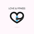 Heart sign and dumbbell icon.Fitness and gym logo.Healthcare,spo