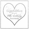 Heart Silver Wedding Anniversary Card Royalty Free Stock Photo