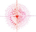 Heart sketched doodle with arrows red and pink doodles a and Stock Photos