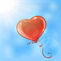 Heart in the sky red balloon form of on background illustration Stock Photos