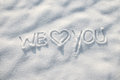 Heart snow background in the we love you word message on the Royalty Free Stock Photo