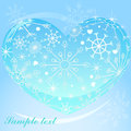 Heart with snowflakes background vector Royalty Free Stock Photo