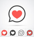 Heart in speech bubble icon. Vector Royalty Free Stock Photo