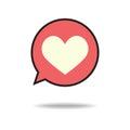 Heart in speech bubble icon.