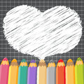 Heart speech bubble with pencils. Dark checkered background.