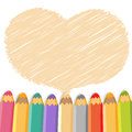 Heart speech bubble with pencils.