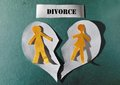 Heart split apart paper couple and divorce concept Royalty Free Stock Image