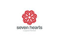 Heart Star Flower Logo design vector template. St. Valentine day of love Party.Cardiology Medical Health care Logotype concept
