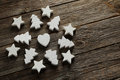 Heart stars and fir tree decorative on a grey wooden background Royalty Free Stock Photo