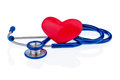 Heart and stethoscope a a are adjacent symbolic photo for disease heartache Royalty Free Stock Image