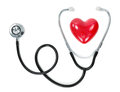 Heart and stethoscope isolated on white Stock Photo