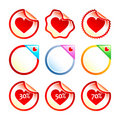Heart stickers or labels Stock Photo