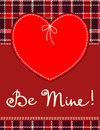 Heart in stitched textile style vector red label with be mine hand lettering Royalty Free Stock Image