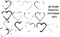 Heart strokes set of grunge brushes in shape black on white background Stock Photo