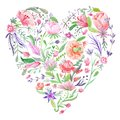 Heart of Summer Watercolor Floral Illustration Royalty Free Stock Photo