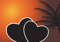 Heart in the sunset. Vector illustration. EPS 10. Royalty Free Stock Photo