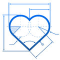 Heart symbol with dimension lines element of blueprint drawing in shape of qualitative vector eps illustration for valentines day Stock Photography