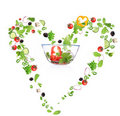 Heart symbol made of vegetable Stock Photo