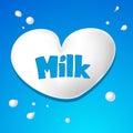 Heart symbol - milk drops vector Royalty Free Stock Photo