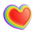 Heart symbol shape made of six rainbow colored layers Royalty Free Stock Photography