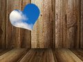 Heart texture and sky on wooden fence Stock Photos