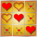 Heart tic tac toe illustration of a red game with silver frame Stock Images