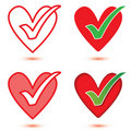 Heart & Tick Icon Set Stock Photo