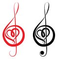 Heart of treble clef and bass clef love music valentine day vector illustration Royalty Free Stock Photography