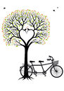 Heart tree with birds and bicycle vector tandem illustration for wedding invitation valentines day card Royalty Free Stock Photo