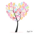 Heart tree with colorful finger prints vector Royalty Free Stock Photo