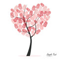 Heart tree with finger prints vector Royalty Free Stock Photo