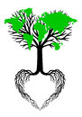 Heart tree with green world map, vector