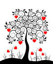 Heart tree and heart flowers Royalty Free Stock Image