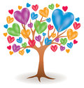 Heart tree logo a with icon illustration Stock Photos
