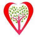 Heart tree logo icon vector.Healthy heart concept drawing