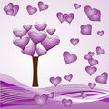 Heart tree - purple Stock Photo