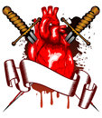 Heart and two daggers Royalty Free Stock Images