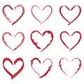 Heart valentine drawings set