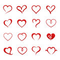 Heart valentine icon set Royalty Free Stock Photo