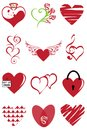 Heart valentine icon set vector illustration. Graphic, curlicues.