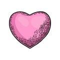 Heart. Vector black and color vintage engraving illustration