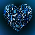 Heart vector font from numbers shape different love math symbol Stock Images