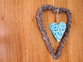 Heart on wall detail of hanging the door Royalty Free Stock Image