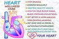 Heart wellness care related words icon in snow white backgrund