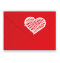 Heart white crayon on red envelope vector Royalty Free Stock Images