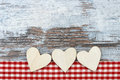 Heart white hearts lying on wood Royalty Free Stock Images