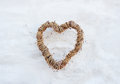 Heart on white wall Royalty Free Stock Photo
