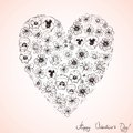 Heart of wildflowers valentines sketch Royalty Free Stock Photos
