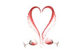 Heart of wine a made from the splash two cups Royalty Free Stock Photo