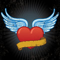 Heart with wings and banner vector illustration Royalty Free Stock Photo